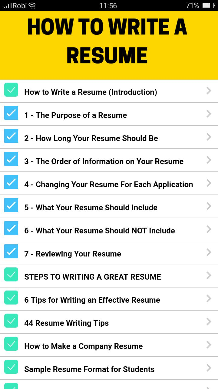 Resume Formats for Android - APK Download
