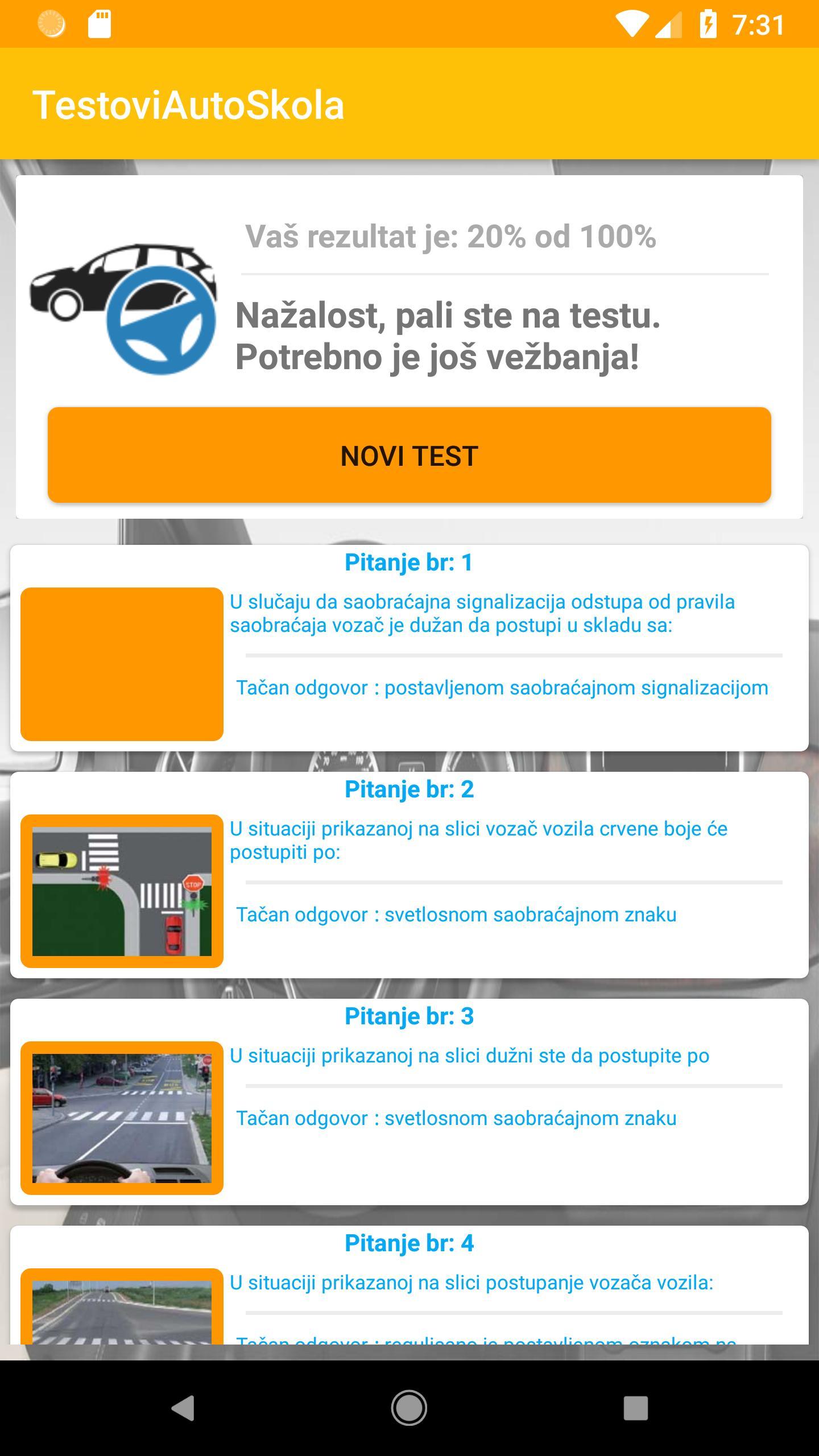 testovi za polaganje vozackog ispita
