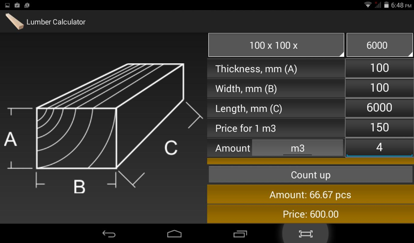 Calculator lumber timber apk download free tools app for Lumber calculator for house
