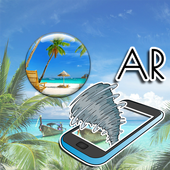 Tropical island : augmented reality icon