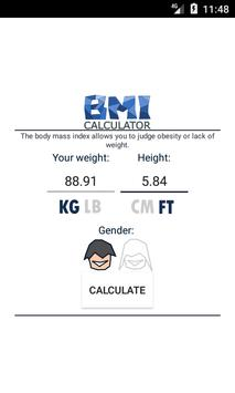 1 Schermata BMI calculator