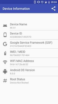 Device Info (Device ID, IMEI, MAC, Root, GSF) poster