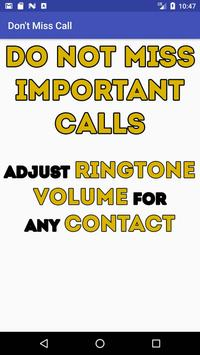 Don't Miss Call - Сustom volume for contacts screenshot 1