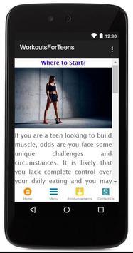 Workouts For Teens apk screenshot