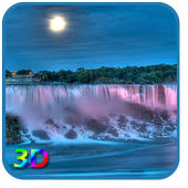 3D Night Waterfall LWP icon