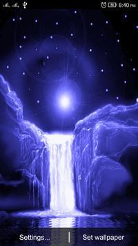 3D Night Waterfall LWP apk screenshot