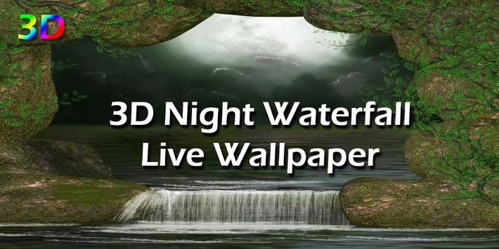 3D Night Waterfall LWP poster
