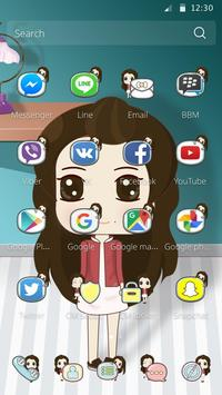 Cute Girl Cartoon Theme apk screenshot