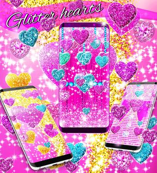 2018 Glitter hearts live wallpaper screenshot 1