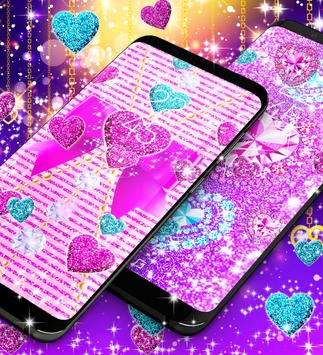 2018 Glitter hearts live wallpaper screenshot 4