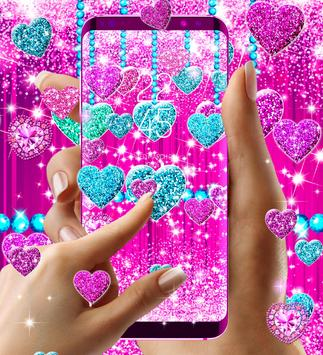 2018 Glitter hearts live wallpaper screenshot 5