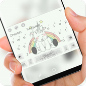 White cute unicorn Keyboard icon