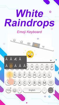 White Raindrops Theme&Emoji Keyboard स्क्रीनशॉट 1