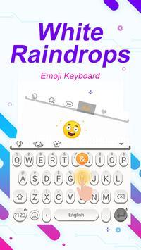 White Raindrops Theme&Emoji Keyboard स्क्रीनशॉट 2