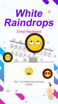 White Raindrops Theme&Emoji Keyboard स्क्रीनशॉट 3