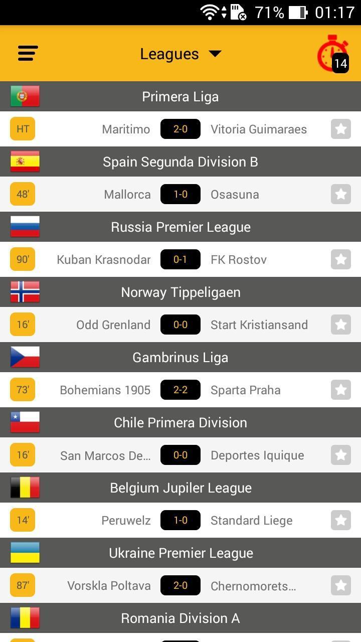 livescorehunter football app