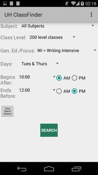 UH Class Finder Spr2015 screenshot 1