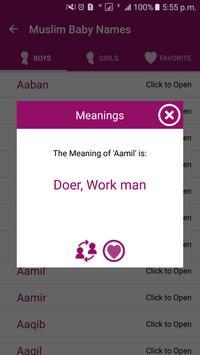 Muslim Baby Names meanings apk screenshot