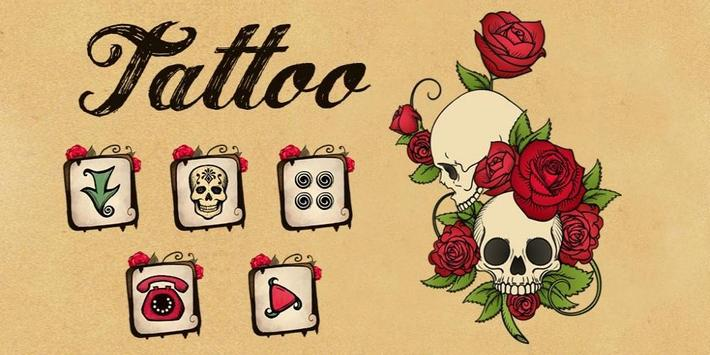 Rose Skull Tattoo Theme apk screenshot