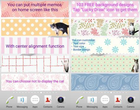 Cat Sticky Memo Notepad Lite screenshot 2