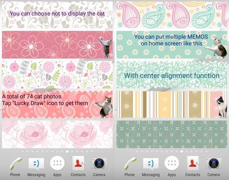 Cat Sticky Memo Notepad Lite screenshot 3