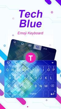 Tech Blue Theme&Emoji Keyboard poster
