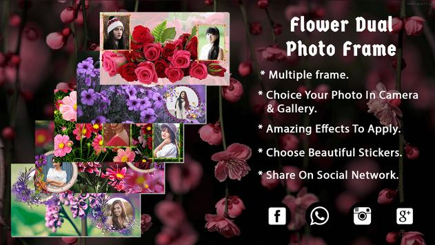 Flower Dual Photo Frame - Photo Editor poster