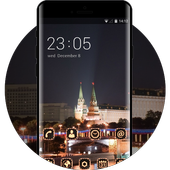 Landscape theme wallpaper moscow lights city red icon