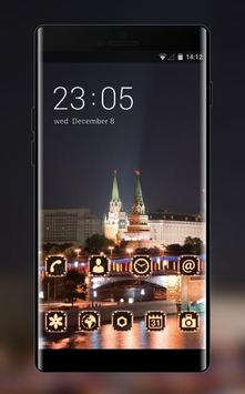 Landscape theme wallpaper moscow lights city red poster