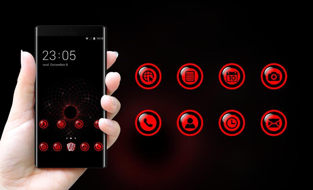 Cool Dark Red Tech Theme for Lenovo K8 Note for Android