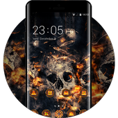 Theme for Vivo V5/V5 plus: Fire Skull HD Wallpaper icon