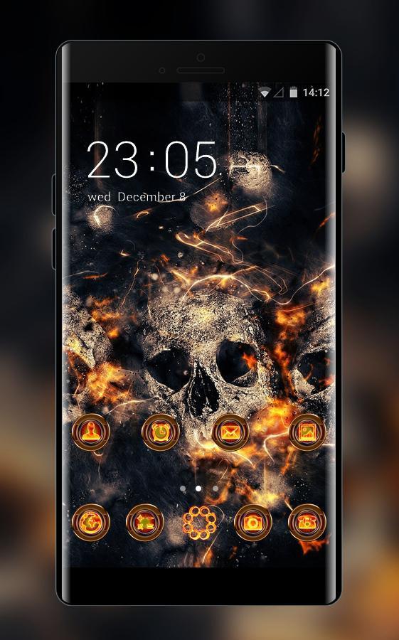 Theme for Vivo V5/V5 plus: Fire Skull HD Wallpaper for