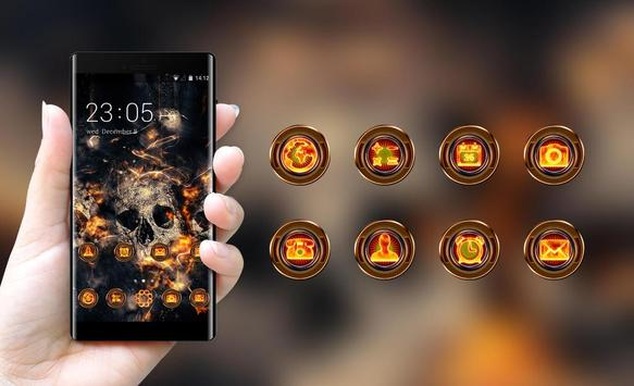 Theme for Vivo V5/V5 plus: Fire Skull HD Wallpaper screenshot 3