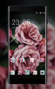 Cool theme rose pink raindrop flower summer poster
