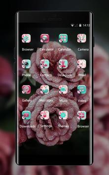 Cool theme rose pink raindrop flower summer apk screenshot