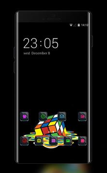 Cool theme rubiks cube colorful melting wallpaper poster