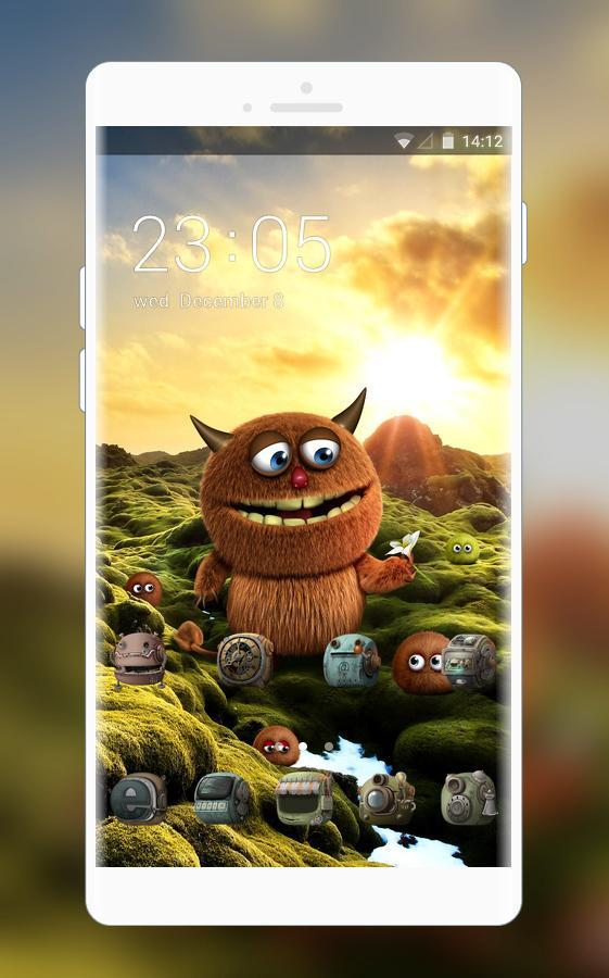 Cute Monster Theme Furry Alien Wallpaper Hd For Android