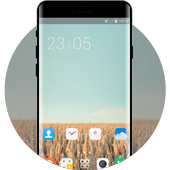 Theme for  fall rye sky field wallpaper icon