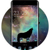 Wolf theme starry sky silhouette wallpaper icon