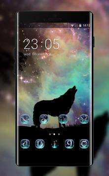 Wolf theme starry sky silhouette wallpaper poster