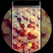 Abstract theme honey hexagon digital pattern icon