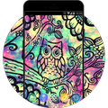 Galaxy Neon Theme:Cute Colorful Owl Live Wallpaper
