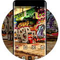 Graffiti theme asphalt wall city art wallpaper