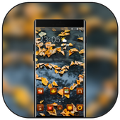 Theme for fall leaves love heart shape wallpaper icon