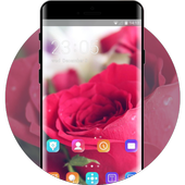 Flower theme rose red love icon