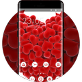Valentine Day theme red love hearts wallpaper