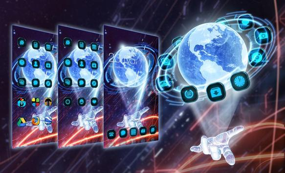 3D Hologram Tech Design Cool Launcher Theme screenshot 4