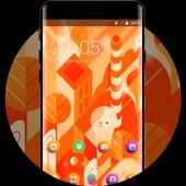Hand drawing theme lollipop orange cute wallpaper icon