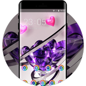 Love theme wallpaper form glass heart spiral 3d icon