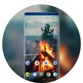 Theme for nature burning wood fire wallpaper icon